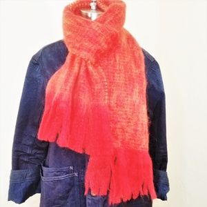 NWT AVOCA Kid Mohair Fringe Scarf Fire Knit Red